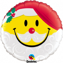 "Christmas Foil Balloon - Smile Face Santa (18"") 1pc"